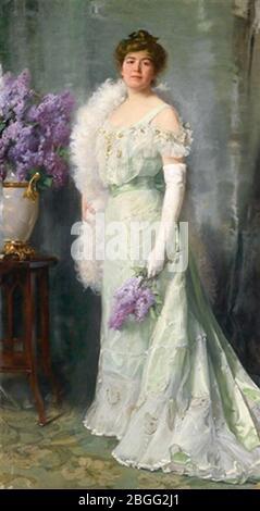 Hermenn Clementz - Dame der Gesellschaft mit Fliederstrauß 1904. - Stockfoto