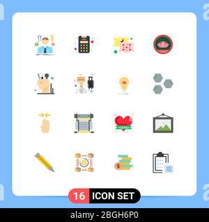 16 Universal flache Farbe Zeichen Symbole des Geistes, Kunst, Kissen, Münzen, bangladeshi editierbare Packung von kreativen Vektor Design-Elemente - Stockfoto
