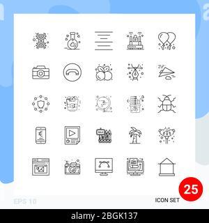 25 Linienkonzept für Websites Mobile und Apps Motivation, Ballon, Align, Protection, Internet editierbar Vektor Design Elemente - Stockfoto