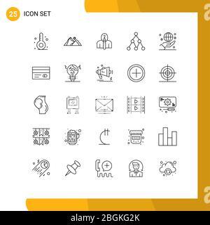 25 Linienkonzept für Websites Mobile und Apps Business, Netzwerk, Szene, Link, Autorschaft editierbare Vektordesign-Elemente - Stockfoto