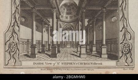 Innenansicht von St. Stephen, Walbrook, City of London. Wren Kirche. THORNTON 1784 - Stockfoto