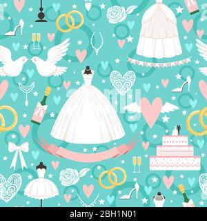 Nahtlose Muster mit verschiedenen Hochzeit Symbole im Cartoon-Stil. Hochzeit Hintergrund mit Kuchen Band nad weißen Kleid Illustration - Stockfoto