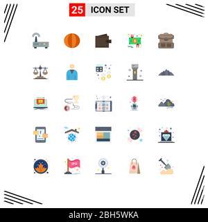 Set von 25 modernen UI-Symbole Symbole Symbole Zeichen für Dollar, Umlauf, Gemüse, Ladung, Benutzer editierbar Vektor Design-Elemente - Stockfoto