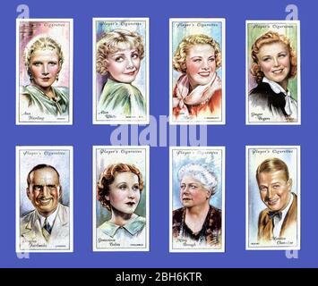 Bildkarten von 1930/50 Schauspielern und Actorissen von John Player Cigarettes - Stockfoto