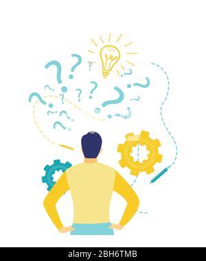 Flache Vektorgrafik, Rückansicht eines verwirrten Geschäftsmanns, der nach den neuesten Geschäftsideen und Innovationen in Blau und Gelb sucht. - Stockfoto