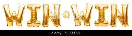 Worte GEWINNEN SIEG aus goldenen aufblasbaren Ballons auf weiß isoliert. Helium Ballons Gold Folie Buchstaben. Botschaft für Gewinner, Champions. Gewinnen Sie