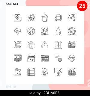 25 Linienkonzept für Websites Mobile und Apps Einnahmen, Gewinn, Baby, Einkommen, Tasse editierbar Vektor Design-Elemente - Stockfoto