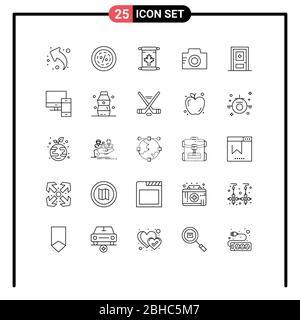 25 Linienkonzept für Websites Mobile und Apps Bild, Bild, Verkauf, Kamera, kanada Editable Vector Design Elements - Stockfoto