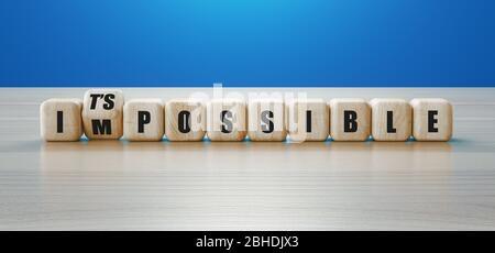 Wort unmöglich auf hölzernen Würfel geschrieben mit der zweiten Drehung, um das mögliche Zeichen zu buchstabieren. 3d-Rendering - Stockfoto
