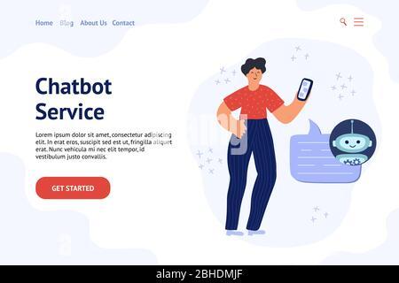 Chatbot Banner Konzept mit einem Mann im Chat mit bot - Stockfoto