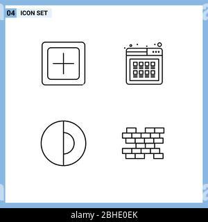 4 User Interface Line Pack moderner Zeichen und Symbole von Add, Produkt, neu, online, Geologie editierbar Vektor Design-Elemente - Stockfoto