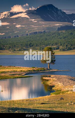 Khoton-See, im Hintergrund Altai-Gebirge, Altai-Tawan-Bogd Nationalpark, Bayan-Ulgii Provinz, Mongolei, Asien - Stockfoto