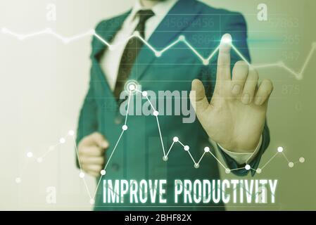 Texteingabe verbessert die Produktivität. Geschäftsfoto mit Präsentationen verbessern Sie die Qualität von Eingabezeit und Leistung - Stockfoto