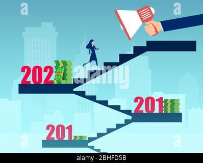 Vektor einer erfolgreichen Geschäftsfrau, die eine Karriereleiter klettert und finanziell motiviert ist - Stockfoto