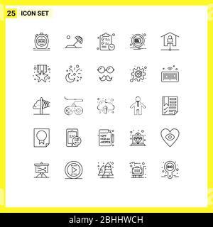 25 Linienkonzept für Websites Mobile und Apps Kit, Geräte, Zwischenablage, Benachrichtigung, Laden editierbar Vektor Design-Elemente - Stockfoto