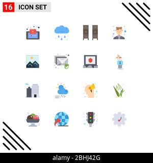 16 Universal flache Farbe Zeichen Symbole der weiblichen, Avatar, regnerisch, Garderobe, Interieur editierbar Pack von Creative Vector Design-Elemente - Stockfoto