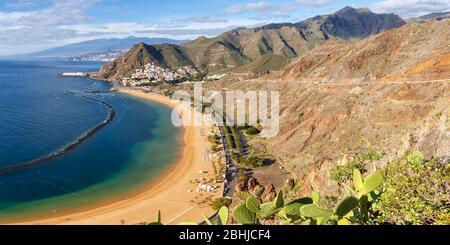 Teneriffa Strand Teresitas Kanarische Inseln Meer Wasser Spanien Panoramablick Reisen Atlantischer Ozean Natur
