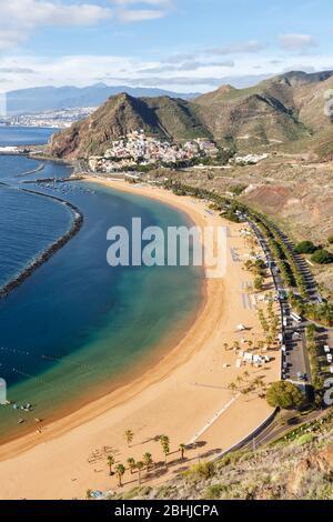 Teneriffa Strand Teresitas Kanarische Inseln Meer Spanien Reisen Reisen Portrait Format Natur