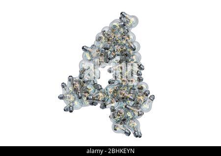 Nummer 4 von Glühbirnen, 3D-Rendering isoliert auf weißem Hintergrund - Stockfoto