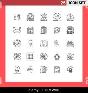 25 Linienkonzept für Websites Mobile und Apps Boot, Boot, Mikroskop, Strand, Regen editierbare Vektordesign-Elemente - Stockfoto