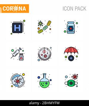 CORONAVIRUS 9 Filled Line Flat Color Icon auf das Thema Corona Epidemie gesetzt enthält Symbole wie Impfstoff, Injektion, Medikamente, Medikamente, Medizin virale - Stockfoto