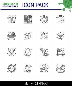 CORONAVIRUS 16 Line Icon auf das Thema der Corona-Epidemie gesetzt enthält Symbole wie Pillen, Medikamente, Sicherheit, Airoplan, verbotene virale Coronavirus 2019-nov - Stockfoto
