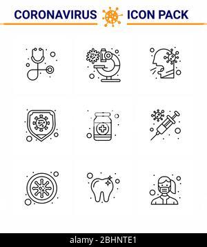 CORONAVIRUS 9 Line Icon auf das Thema der Corona Epidemie gesetzt enthält Symbole wie Fitness, Virus, Gesundheit, Schutz, Krankheit virale Coronavirus - Stockfoto