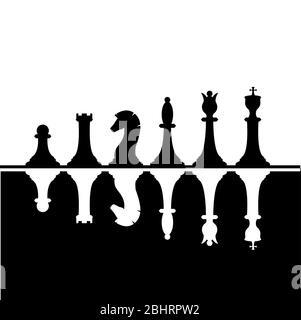 Set aus schwarzen und weißen Schachfiguren. Weiße Schachfiguren, die von Schwarz reflektiert werden. Schachstrategie und Taktik. Vektorgrafik - Stockfoto