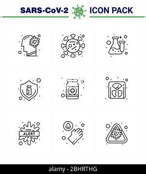 CORONAVIRUS 9 Line Icon auf das Thema Corona Epidemie gesetzt enthält Symbole wie Virus, Schutz, Epidemie, Grippe, Labor viralen Coronavirus 201 - Stockfoto