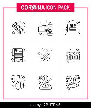 CORONAVIRUS 9 Line Icon auf das Thema der Corona-Epidemie gesetzt enthält Symbole wie Blut, Rezept, Medikamente, Apotheke, Sterblichkeit virale Coronav - Stockfoto