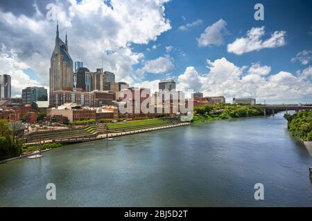 Stadt Nashville Tennessee am Cumberland River in Tennessee USA Stockfoto