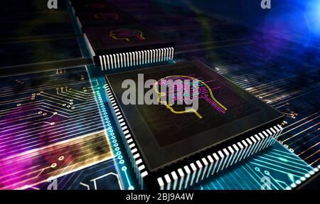 Künstliche Intelligenz, Cyber-Kopf-Form und futuristische Lernmaschine. AI CPU Produktionslinie abstrakten 3d-Rendering-Illustration. Prozessorfaktor - Stockfoto