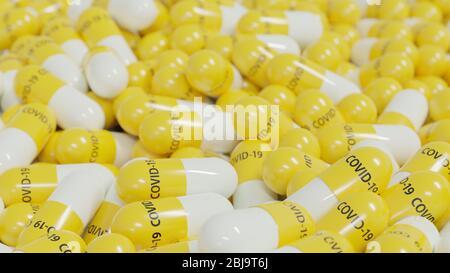 Stapel von antiviralen Medikamenten Kapseln zur Prävention oder Behandlung gegen das Corona-Virus COVID-19, Nahaufnahme, 3D-Rendering - Stockfoto