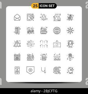 25 Linienkonzept für Websites Mobile und Apps Business, Feuer, Bug, Auto, Sicherheit editierbare Vector Design Elemente - Stockfoto