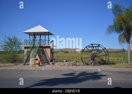 Südafrikanische Outdoor-Fotos von Friedrich von Horsten. Grüne Weinberge entlang des Orange River in Kakamas, Nordkap. Bewässerung macht Green Kalahari Stockfoto