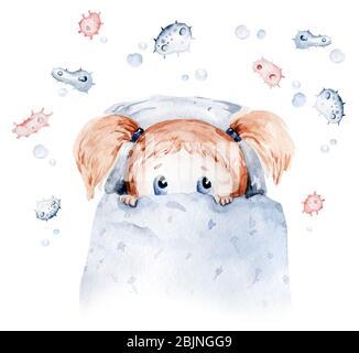 Nette Karikatur Tierarzt, Pillen, Krankenwagen, Maske, Bakterien, Viren, Coronavirus. Aquarell Hand gezeichnet junge und Mädchen Arzt gesetzt. - Stockfoto
