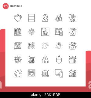 25 Linienkonzept für Websites Mobile und Apps Kunst, Thermometer, Marker, Temperatur, Sport editierbar Vektor Design-Elemente Stockfoto