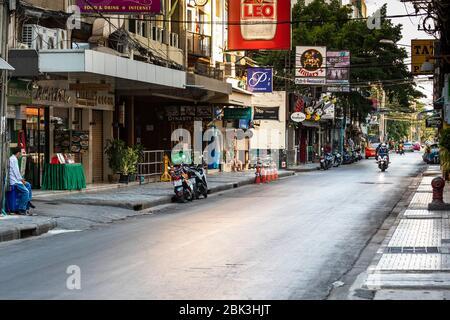 Soi Nana Rotlichtviertel gesperrt während Covid 19 Pandemie, Bangkok, Thailand