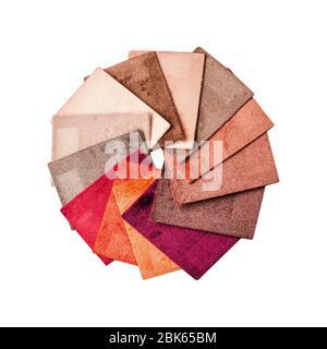 Teppich. Teppichmuster zum Auflegen auf den Boden im Raum. Beispiele für Sorten. - Stockfoto