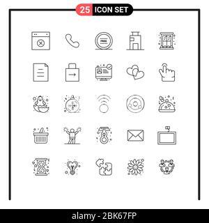 25 Linienkonzept für Websites Mobile und Apps Stadt, Gebäude, Anruf, Wohnung, Linie editierbar Vektor Design-Elemente Stockfoto