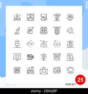25 Linienkonzept für Websites Mobile und Apps hr, Idee, Dokument, gefälscht, Copycat editierbar Vektor Design-Elemente - Stockfoto