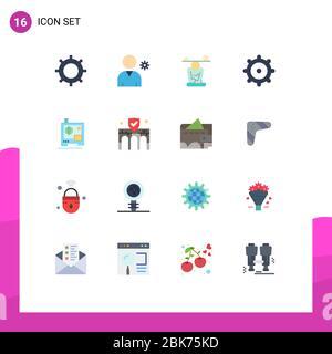 16 Universal flache Farbzeichen Symbole für Gebäude, Druck, Konzentration, Drucker, Ausrüstung bearbeitbare Packung von kreativen Vektor Design-Elemente - Stockfoto