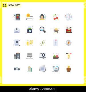 Set von 25 modernen UI-Symbole Symbole Zeichen für Nachricht, Labor, Aufnahme, Bildung, Atom editierbare Vektor-Design-Elemente - Stockfoto