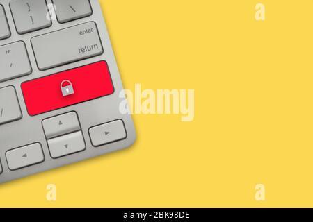 Tastatur auf gelbem Hintergrund. Business, Copy Space und Technologiekonzept - Stockfoto