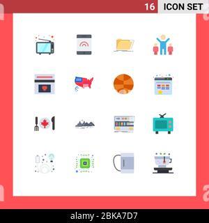 16 Universal Flat Color Zeichen Symbole der Hochzeit, Liebe, Verzeichnis, Fonds, Gruppe editierbar Pack von Creative Vector Design-Elemente - Stockfoto