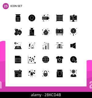 25 Solid Glyph Konzept für Websites Mobile und Apps Marketing, Website, mobile, Promotion, Linie editierbar Vector Design Elemente Stockfoto