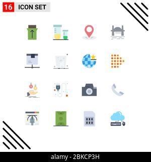 16 Universal Flat Color Signs Symbole für Netzwerk, Lieferung, Ort, sydney, citysets editierbare Packung mit kreativen Vektor Design-Elemente - Stockfoto