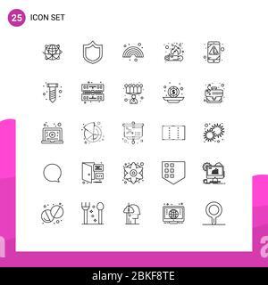 25 Linienkonzept für Websites Mobile und Apps Alarm, Feuer, Schutz, Lagerfeuer, Linie editierbar Vektor Design Elemente Stockfoto