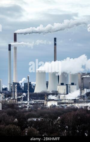 30.01.2020, Gelsenkirchen, Ruhrgebiet, Nordrhein-Westfalen, Deutschland - Kraftwerk Scholven, Steinkohlekraftwerk Uniper. 30.01.2020, Gelsenki - Stockfoto