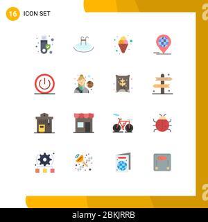 16 Universal Flat Color Zeichen Symbole aus, modern, Karneval, global, Business editierbar Pack von Creative Vector Design-Elemente - Stockfoto